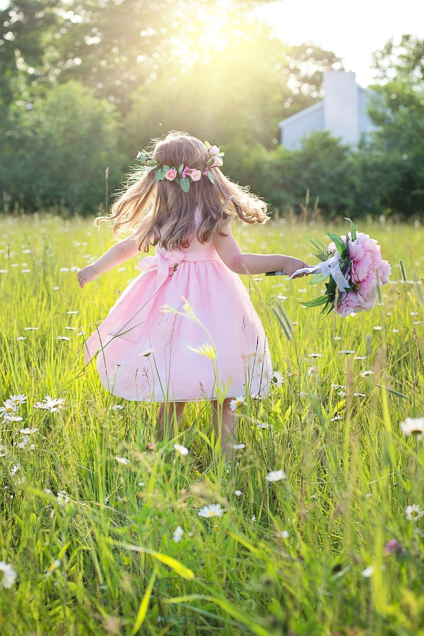 summer, little girl, running